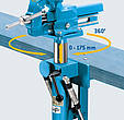 1. Lowest depth from lower edge of workbench plate, 2. Folding depth from front edge of workbench plate, 3. Swivel radius around point of rotation